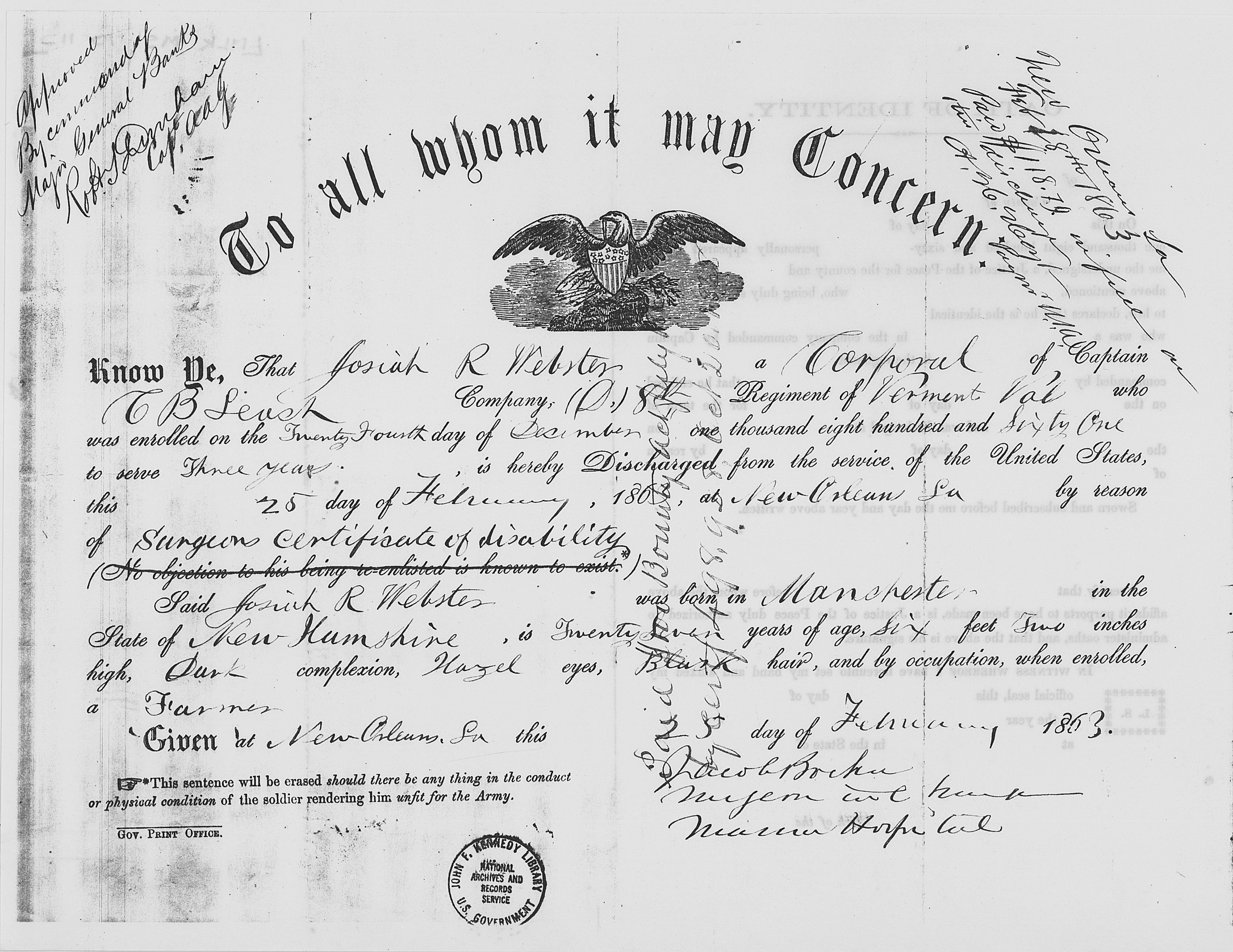 Josiah_Webster_Civil_War_Discharge_Certificate_February,_1863_-_NARA_-_192986